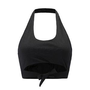 2019 Offerta speciale Top Fashion Poliestere Bianco Arancione Nero Oro Polka Dot Donne Sexy Crop Top Bow Vest Knot Tagliata Tank Feminino