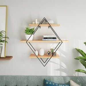 Wooden Iron Wall Storage Shelf Wall Mounted Storage Rack Organization For Kitchen Bedroom Home Decor Kid Room Wall Decor Holder Y200429