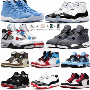 Mens zapatillas de deporte 11s Pantone Concord 45 4s Bred zapatos de baloncesto Cactus Jack 1s Travis Scotts UNC Torsión Pure dinero Hombre formadoras al aire libre