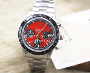 4 Farben Herren Quarz Chronograph Uhr Herren Red Panda Dial Herren Schweizer Ronda Full Steel Cosmograph Uhren Antique 39MM Sport Armbanduhren