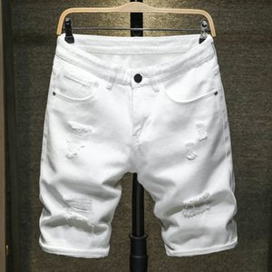 2020 Summer New Men's Ripped Denim Shorts Classic Style Black White Fashion Casual Slim Fit Short Jeans Male Brand