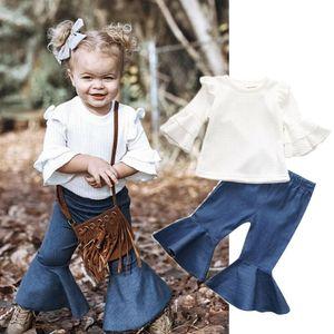 1-5years Kid neonate Outfits Imposta Bianco Tromba manica Top + pantaloni svasati Pants