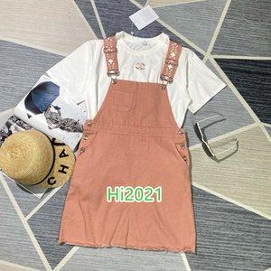 altas mujeres end girls camiseta carta informal traje bordado jersey + letra correa del bolsillo botón de impresión falda 2020 conjunto de diseños de moda de lujo