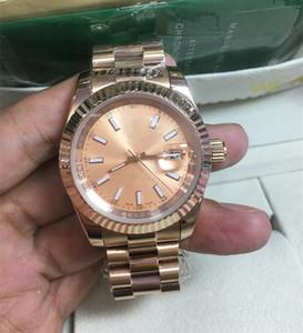 NEW Original-Holzkiste Gold 18k 18038 Tag DATUM GERADE Diamanten Uhr 41MM / 36MM Männer Edelstahl Diamant-Lünette Automatische WrsitWatch Männlichen Uhren