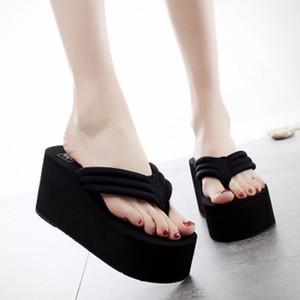 My-Love 8cm Frauen-Perlen-Strand-Flipflop-Sommer-Hoch starke untere Blumen Beleg Sandalen Bling-Stil weibliche Mode Slides