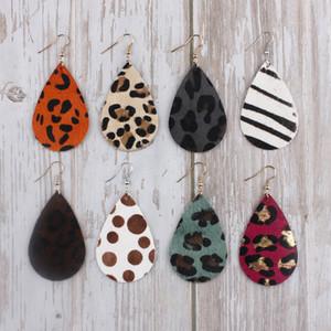 35 * 55 mm Leopard Print Pendientes de cuero genuino para las mujeres Caramel leopardo impresión del guepardo cuelgan gota lágrima del pendiente del cuero