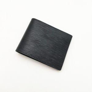 Moda para hombre Cartera Monedero de los hombres clásicos de las rayas con textura carpeta múltiple plegable corto carteras pequeñas con la caja