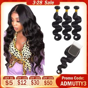 Extensions & Wigs Brazilian Body Wave Weave Bundles With Closure Human Hair Bundles With Closure Double Weft Non Remy Hair