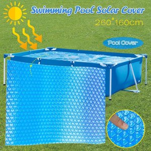 Pool Cover 260x160cm Protector Foot Above Ground Blue Protection Swimming Pool Cover Anti-evaporation and anti-corrosion N4