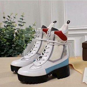 20ss Luxury designer boots Women Desert Boot chunky heel Martin shoes Print Leather Platform Desert Lace-up Boot