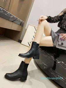 ang Stivaletti Stilista di moda con tacco alto Stivali Vera Pelle Monogram Canvas Croce cinghie la punta del piede di modo delle signore Stivali