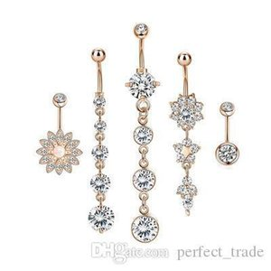 Mulheres Moda Umbigo Anel Rhinestone Tassel Umbigo Anel Hoop flor Navel Botão anel Cinco peças Combinação Oferta Especial
