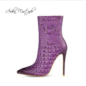 Sapatos Arden Moda feminina Furtado Inverno Toe Pointed estiletes Salto Zipper pura Sexy cor elegante das senhoras Botas Curto Botas