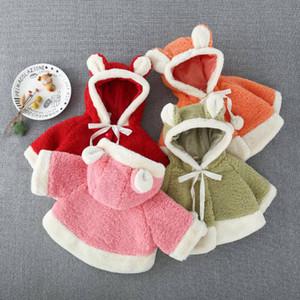 Ragazze mantello incappucciato autunno Poncho Cartoon orso maglione allentato della pelliccia dell'agnello del cappotto del bambino Mantello peluche Poncho Soprabiti per bambini Stilisti 1-4T D6363