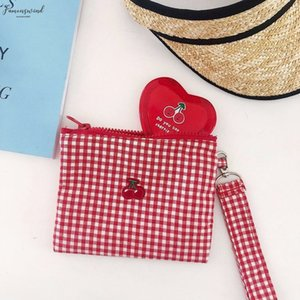 Cherry Red Plaid Cotton Fabric String Handbag Women Girls Sweet Zipper Should Bags Card Holder Capacity Make Up Bag Case