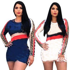 Women letter dresses crew neck mini skirts long sleeve skinny dress fashion clubwear summer clothing casual print dress free ship 376
