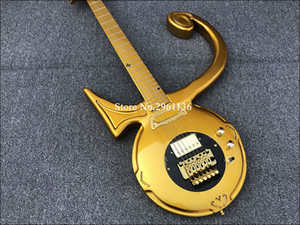 Rare Shaped Guitar Gold Prince Love Symbol Electric Guitar Floyd Rose Tremolo Tailpiece, Gold Single Pickup Gold Ring, Black Pickguard