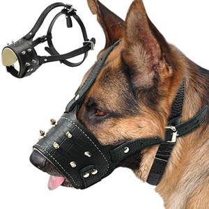 Enfriar perro tachonado claveteado de cuero de la PU Bozal anti Morder Máscara acolchado Perros Traning Bozal Sin corteza del animal doméstico para el perro grande de Pitbull Labrador