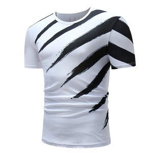 Short Sleeve Black Diagonal Stripe Hip-Hop T Shirt O-Neck Slim Men T-Shirt Tops Fashion Mens Tee Shirt T Shirts