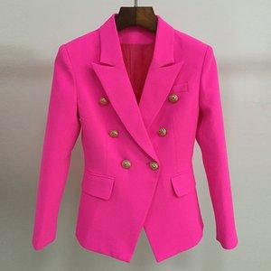 Blazer Fushia S-XXL di alta qualità Donna Ufficio Donna Bottoni doppio petto oro Rosa Rosa Autunno Inverno Nuovi blazer di moda