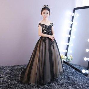 2019 Yeni Kraliyet Siyah Tül Boncuklu Kız Gelinlik Şık Uzun Firar İlk komünyon Önlük Çocuk Akşam Örgün Prenses Elbise