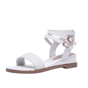 2020 Classic Womens Popular Leather Sandal Striking Gladiator Style Designer Leather Outsole Luxury Flat Canvas Plain Sandals Shoes 31-43