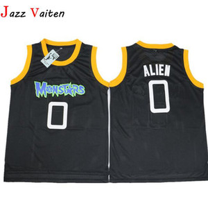 Película Monstar Basketball Jersey Men's hiphop street 0 # Alien Jerseys Camisa cosida bordado deportivo Jersey usa