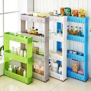 3-Tier Gap plástico de almacenamiento en rack rack de almacenamiento Organizador delgado deslizable Torre de almacenamiento estantería con ruedas para la cocina casera T200413