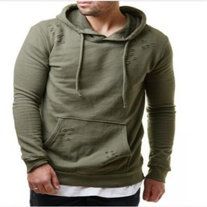 Men's Hoodies & Sweatshirts High Quality Autumn Street Fashion Cotton Pure Color Hole Hooded Sweatshirtsd Outdoor Casual Loose Outerwear