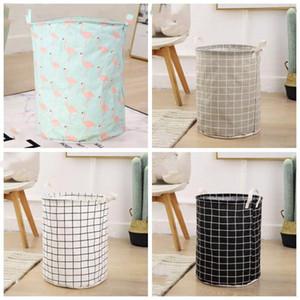 Cestini immagazzinaggio pieghevole impermeabile Clutter Cotone Lino Bag storage desktop Cosmetic snack Toy Organizzazione Storage Bins LXL1159-1