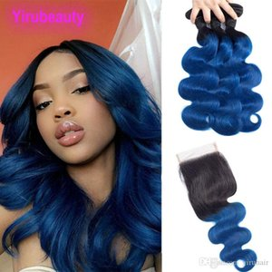 Brazilian Virgin Hair Extensions 1B Blue Ombre Human Hair Body Wave 3 Bundles With 4X4 Lace Closure With Baby Hair Remy 4 Pieces 1B Blue