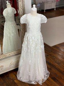1-е причастие Платья для маленькой девочки 2019 года Line Cap Рукава Цветы ручной работы Белое платье девушки цветка молния назад Длина пола на заказ