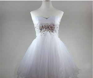 Newest White Mini Appliques Crystal Ball Gown Homecoming Dress With Beading Lace-Up Tulle Graduation Prom Party Gown In Stock BH24