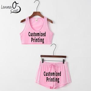 Venta al por mayor Bra Fitness Tank Tank Tops Shorts para mujeres Logo personalizado Text Print Shorts Sports Bra Sets Running Bra Envío gratis