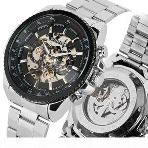 WINNER Tachymeter Top Men Auto Mechanical Watch Skeleton Dial 3D Design Stainless Steel Band Classic Wrist Watches