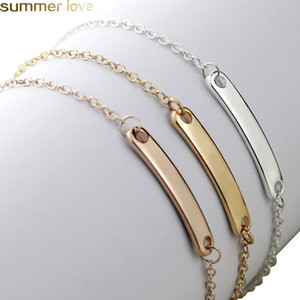 Edelstahl Blank Bar Armband Gold kann Custom Name ID Initial Charm-Armbänder für Frauen Personalisieren Schmuck Best Friends Geschenk