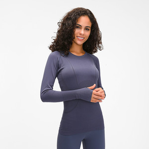 Elástica yoga de la gimnasia Camisas de manga larga de las mujeres delgadas de malla Ejecución de la chaqueta de deporte de secado rápido Negra de la aptitud Sudaderas Tops LU-97