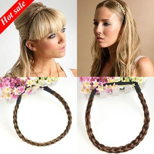 Hair Simulation Synthetic Hair Plaited Headband Elastic Hair Band Braided Headwear scrunchy Headband