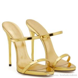İnce Strappy Sandalet Terlik Yüksek Topuklu Altın Gümüş Deri Gladyatör Sandalet Kadınlar Slaytlar Ayakkabı Kadın Sandalias Mujer
