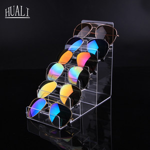 Profesional Acrílico transparente Gafas de sol Soporte de exhibición Lentes transparentes de múltiples capas Mostrar Estante para joyas Gafas Monedero Pantalla Marco