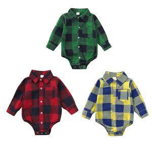 Fashion Autumn Infant Baby Girls Boys Bodysuit Long Sleeve Plaid Print Kids Bodysuit Jumpsuit Outfits