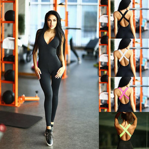MEIERSES Yoga Set Light Weight Sports Jumpsuit Bandage Women Sportswear Slim Fitness Clothing Backless Push Up One Piece Running