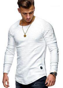 Roupa t-shirt cor de mangas compridas sólida roupa Redonda Men s Neck Magro listrado plissadas Raglan mangas de homens Venda
