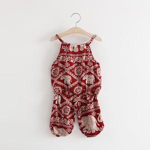 2019 고품질의 새로운 여름 어린이 의류 세트 여자 패션 슬링 + 하렘 바지 통기성 2 색 무료 배송
