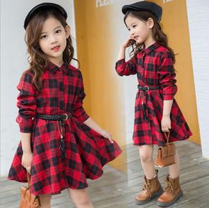 2019 muchachas del otoño clásica camisa a una línea de vestir a dos niños de los colores del estilo coreano de la ropa del diseñador de moda de los niños de honor con Faja