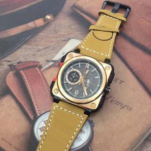 Hochwertige Vintage Skeleton Chronograph Quarz Sport Herren Taucher Bronze Heritage Aviation Camouflage Brown Lederband BR X1 Armbanduhren