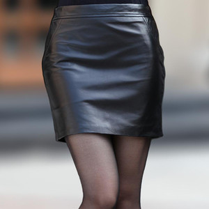 Leather mini skirt with buttock sheepskin 2015