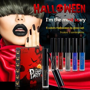 Brillant à lèvres spécial spécial Halloween Lot de 6 pièces Gobelet antiadhésif Rouge à lèvres liquide 9 couleurs 2 combinaisons