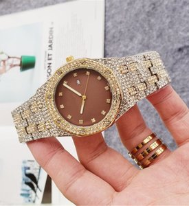 Hot diamond men women luxury movement lady watches ladies dress female Folding buckle rose gold wristwatches automatic quartz clock gift