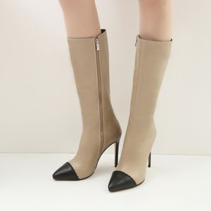 Oversized 9 10 -15 thigh high boots knee high boots over the knee women ladies Stitching color side zipper